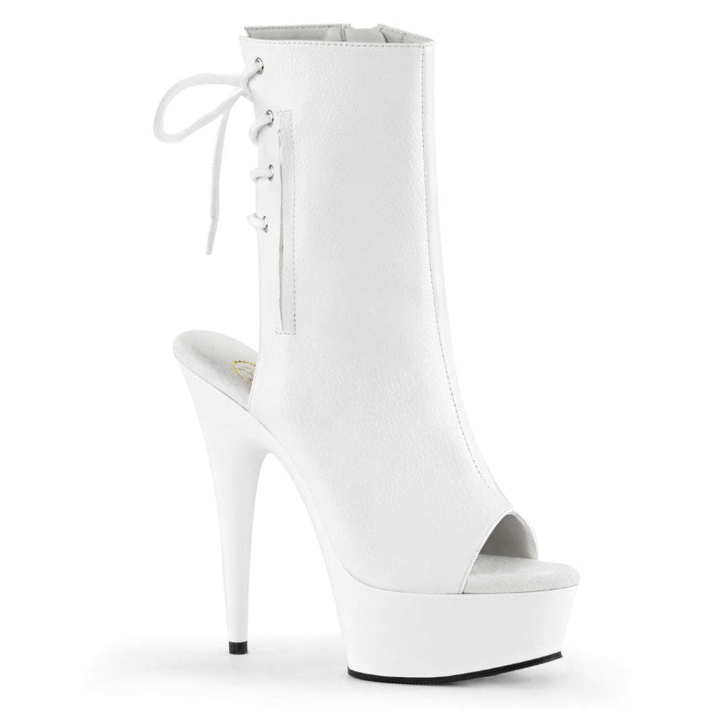 "Delight 1018 White Matte Platform 6"" High Heel Ankle Boots Size 6 - 14"