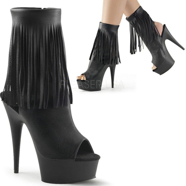 Delight 1019 Fringe  Ankle Boot With Open Heel & Toe Black