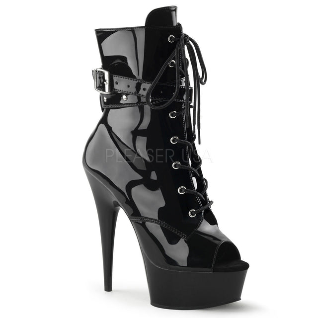 "Delight 1033 Black Patent Ankle Boot - 6"" Heels"