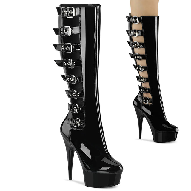 "Delight 2047 Black Patent Open Side Strap Knee Boots- 6"" High Heels"