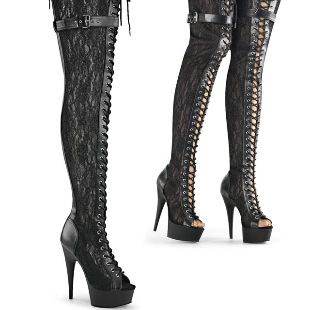 "Delight 3025ML Black Lace Panel Platform Thigh Boots - 6"" High Heels"