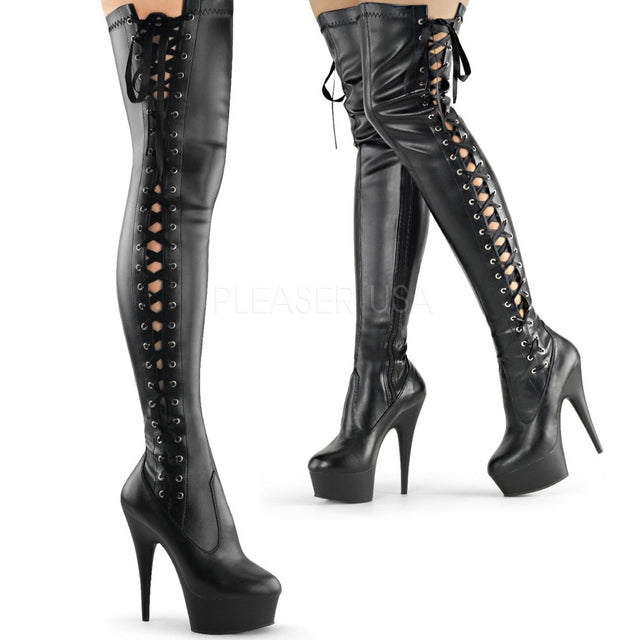 "Delight 3050 Black Stretch Matte Side Lace Platform Thigh Boots - 6"" High Heels"