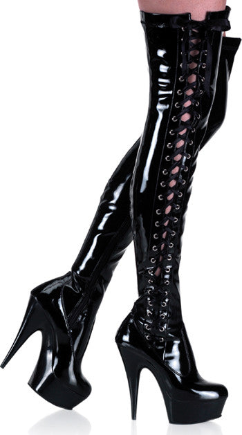"Delight 3050 Black Patent Thigh High Boot - 6"" High Heels - Totally Wicked Footwear"