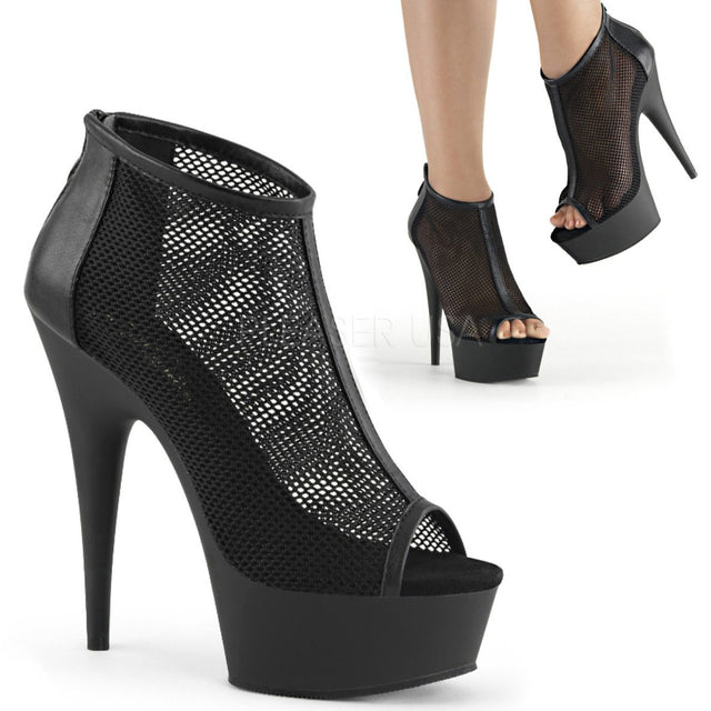 "Delight 600-12 Black Mesh 6"" High Heel Platform Bootie Shoes"