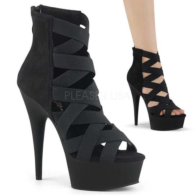 "Delight 600-24 Black Elastic Strap 6"" High Heel Platform Shoe"