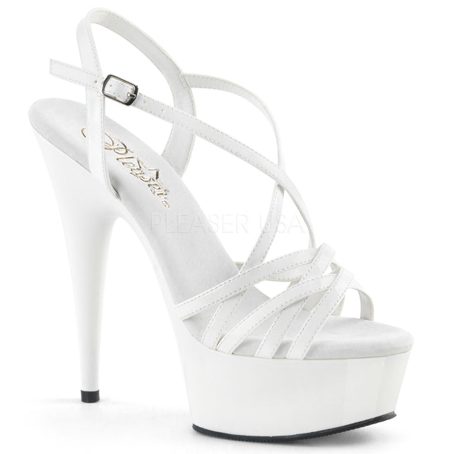 "Delight 613 Cross Strap White Sandal - 6"" High Heel Platform Shoe"