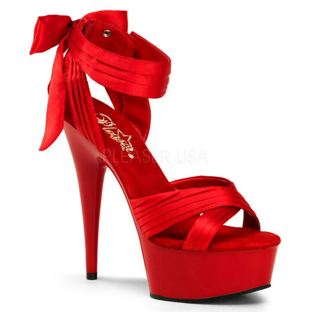 "Delight 668 Red Satin Cross Strap Sexy Back Bow 6"" Heel"