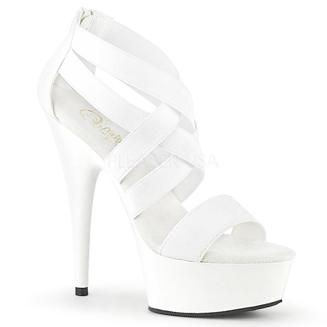 "Delight 669 White Elastic Cross Strap - 6"" High Heel Platform Shoe"