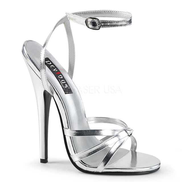 "Domina 108 Wrap Strap 6"" High Heel Shoe Silver 5 - 16"