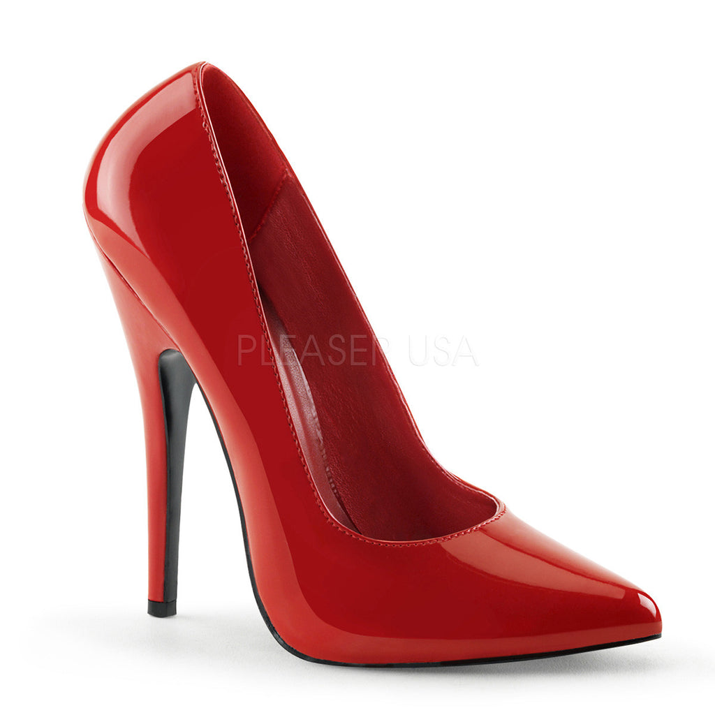 "Domina 420 Red Patent 6"" Stiletto Heel Pumps - Totally Wicked Footwear"