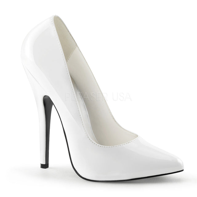 "Domina 420 White Patent 6"" Stiletto Heel Pumps - Totally Wicked Footwear"
