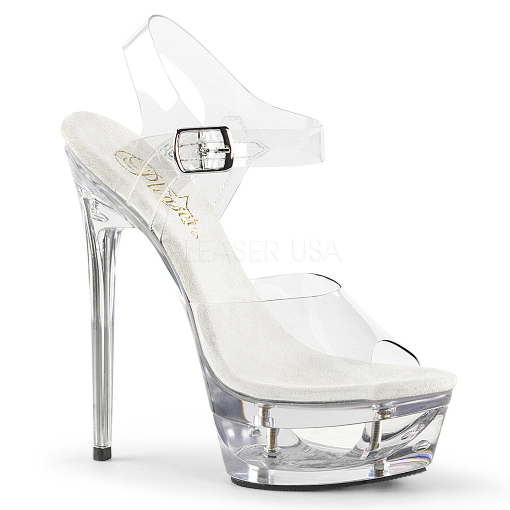 "Eclipse 608 Clear Cut Out Platform 6.5"" Heel Ankle Strap - Totally Wicked Footwear"