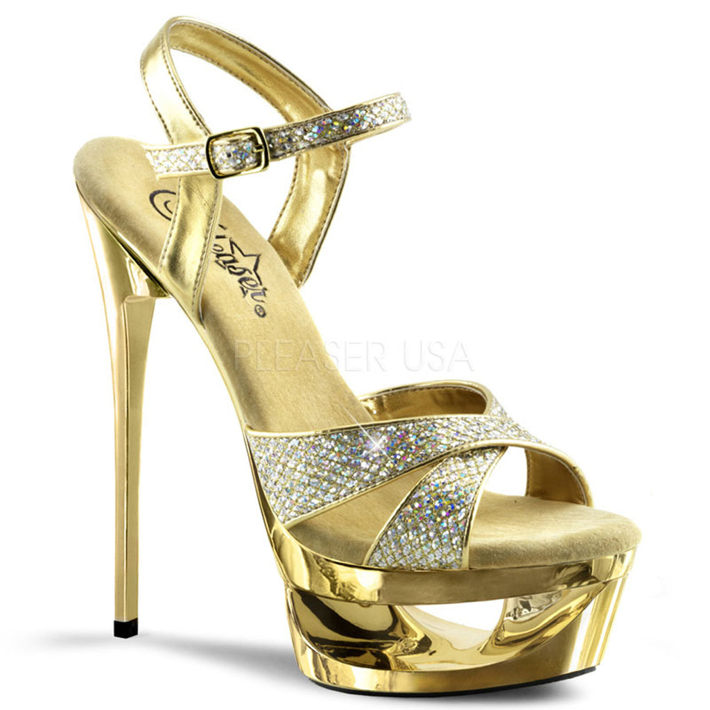 "Eclipse 619 Glitter Gold Chrome Cut Out Platform 6.5"" Heel Ankle Strap Shoe"