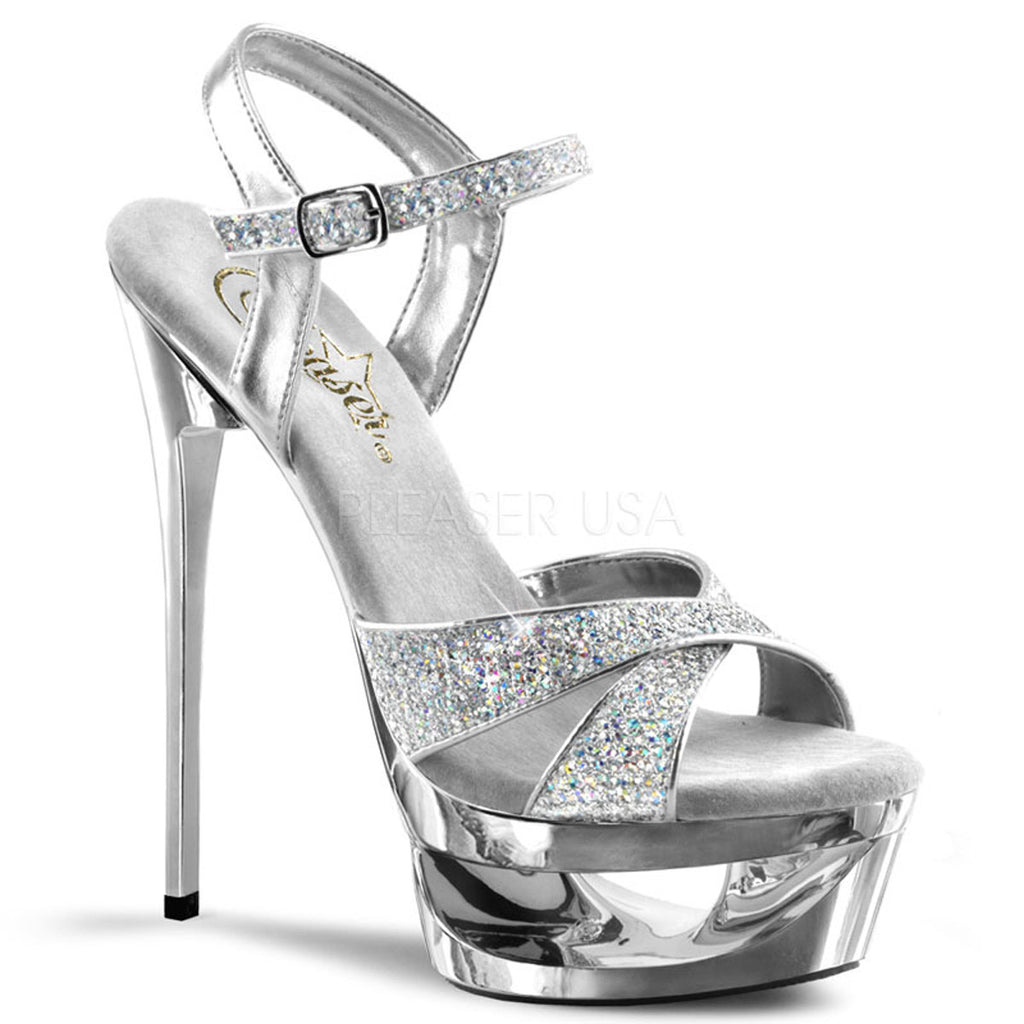 "Eclipse 619 Glitter Ankle Strap Upper On Silver Chrome Cut Out Platform 6.5"" Heel"