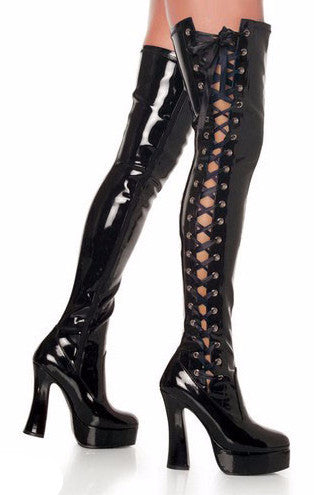Pleaser Electra 3050 Black Faux Leather Side Lace Up Thigh Boots Stack Heels