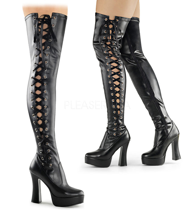 Electra 3050 Black Matte Side Lace Thigh High Boot