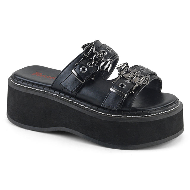 "Emily 100 Goth Black 2"" Platform Bat Buckle Sandals 6-12"