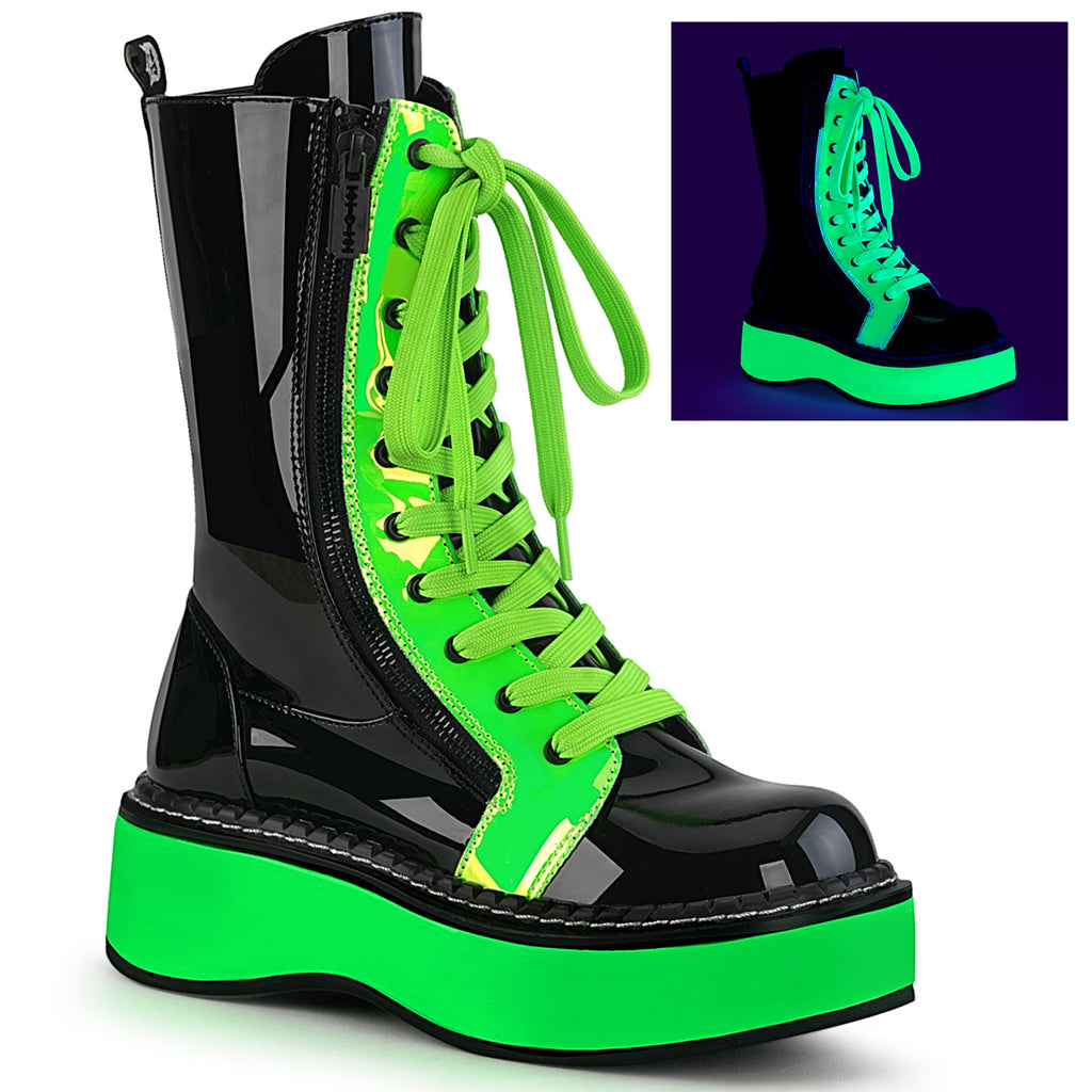 Emily 350 Ankle Black Patent Ankle Boot Green Lime UV Neon Platform & Trim
