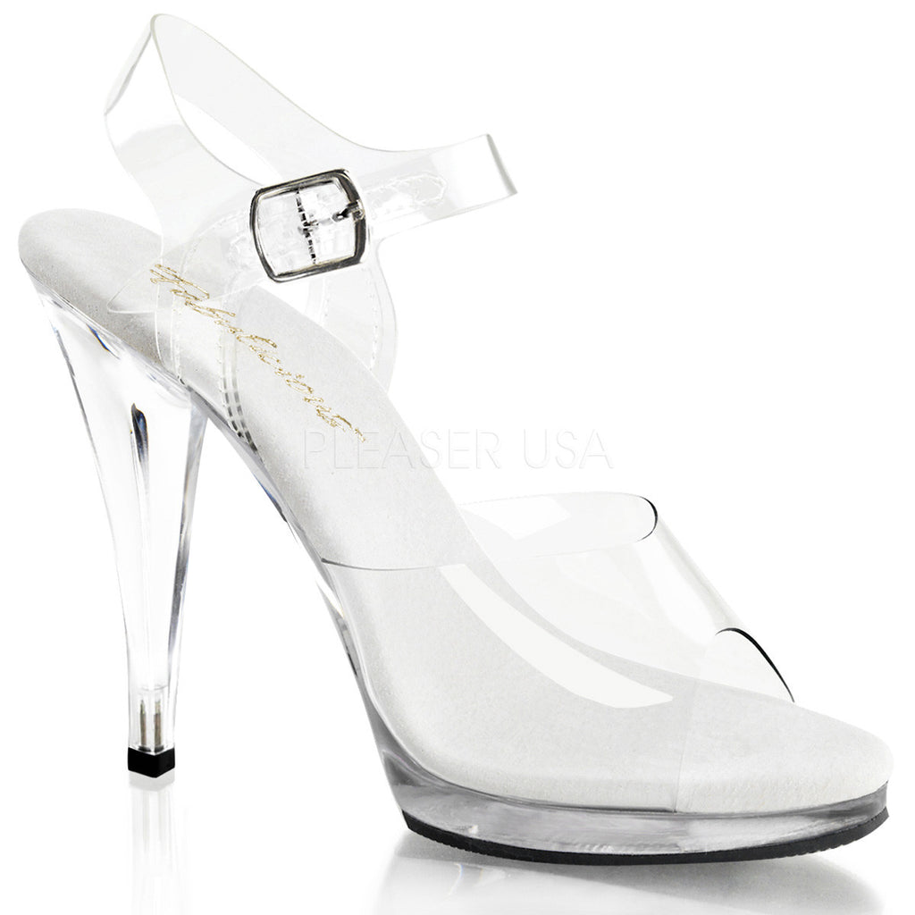 "Flair 408 Clear Ankle Strap Upper 4.5"" Heel Mini Platform Shoe - Totally Wicked Footwear"