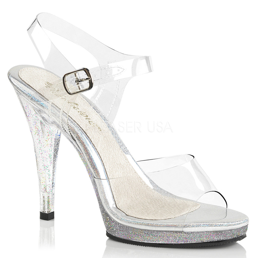 "Flair 408MG Glitter Sandal Clear 4.5"" Heel Mini Platform Ankle Strap - Totally Wicked Footwear"