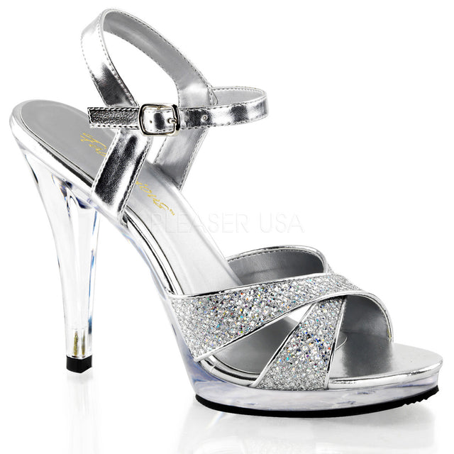 "Flair 419 Glitter Sandal Clear 4.5"" Heel Mini Platform Shoe Silver"
