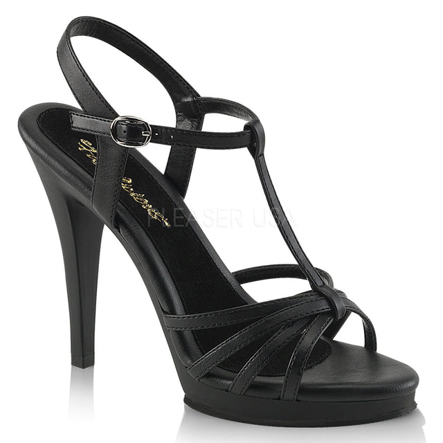 "Flair 420 T-Strap Sandal 4.5"" Heel Mini Platform Shoe Black Matte"