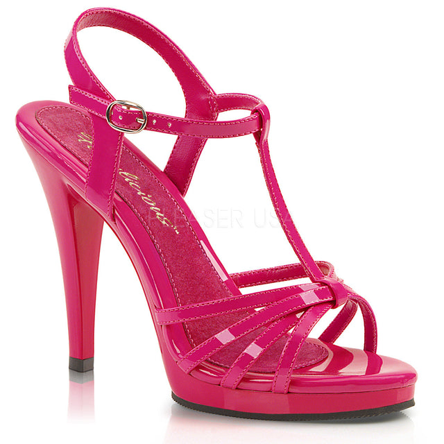 "Flair 420 T-Strap Sandal 4.5"" Heel Mini Platform Shoe Hot Pink"