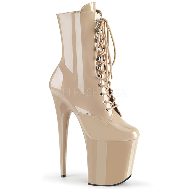 "Flamingo 1020 Nude Patent Platform - 8"" High Heel Ankle Boot - Ships 4/15/19"