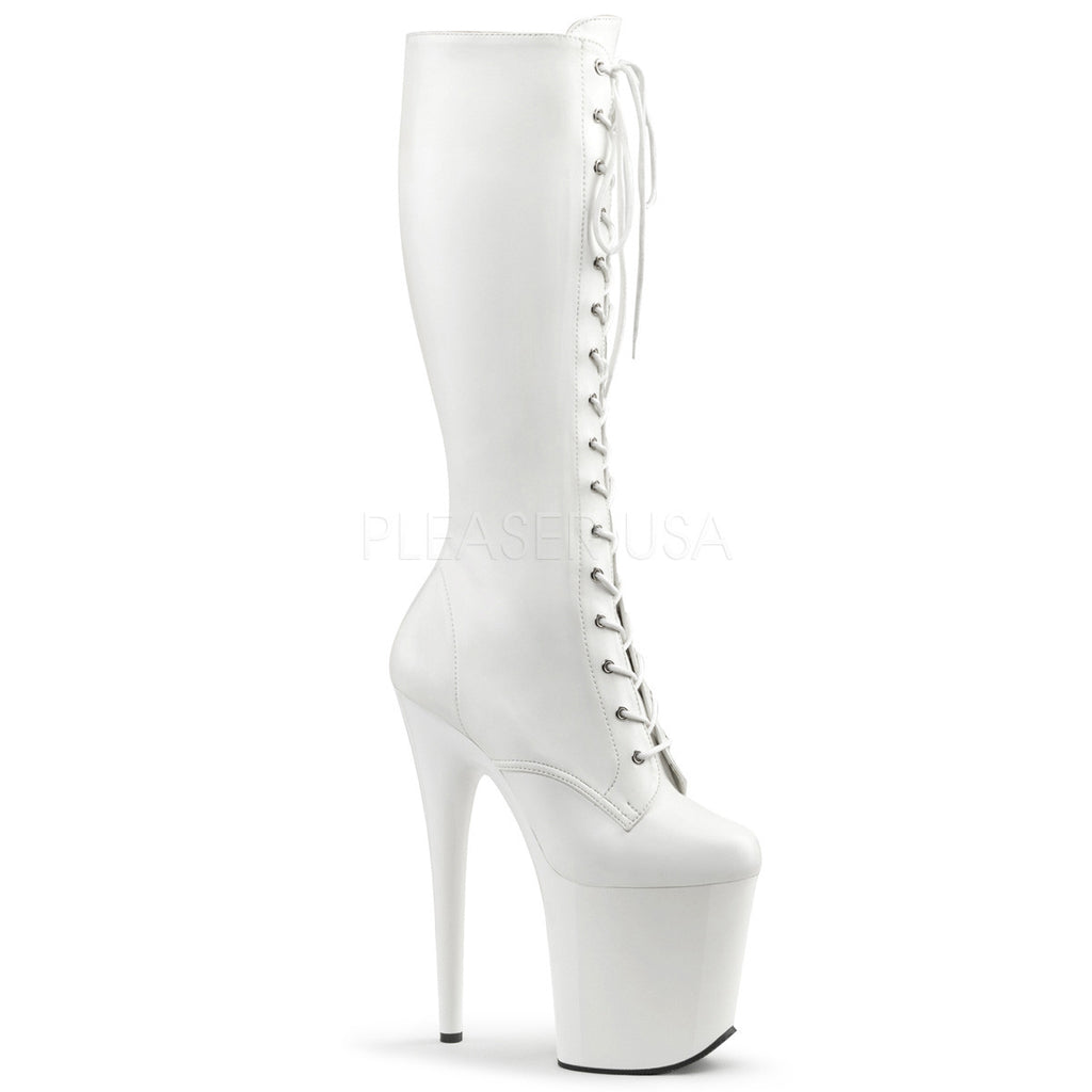 flamingo 2023 white matte 8 heel front lace knee boot totally Diamond High Heels flamingo 2023 white matte 8 heel front lace knee boot totally wicked footwear
