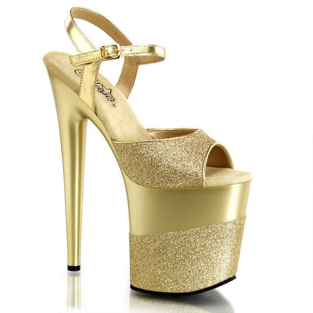 "Flamingo 809-2G Ankle Strap Brushed Gold Upper Gold Glitter Platform 8"" Heel"