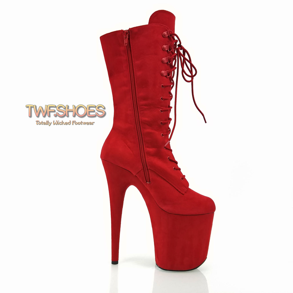 "Flamingo 1050 Faux Suede Mid Calf Ankle Boots 8"" Platform Heels - Red"