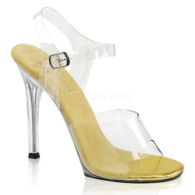 "Gala 108 Clear Upper Ankle Strap 4.5"" Heel Gold"
