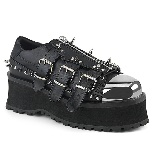 Grave Digger 03 Black Chrome Toe Men's Goth Platform Shoe