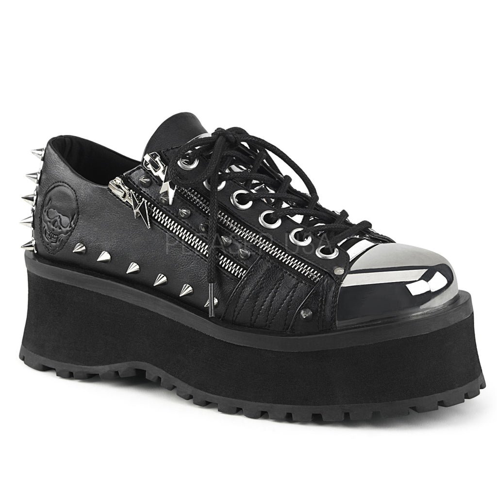 00e7c2c0b Grave Digger 04 Black Chrome Toe Men s Goth Platform Shoe