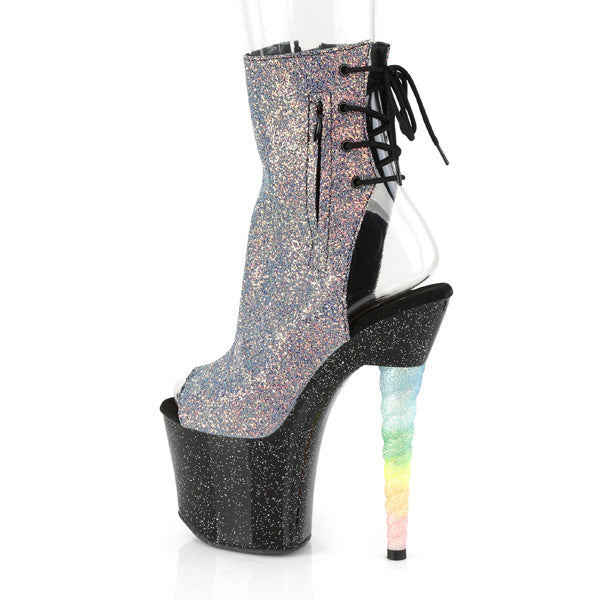 "Unicorn 1018G Multi UV Glitter Rainbow 7"" High Heel Platform Ankle Boots"