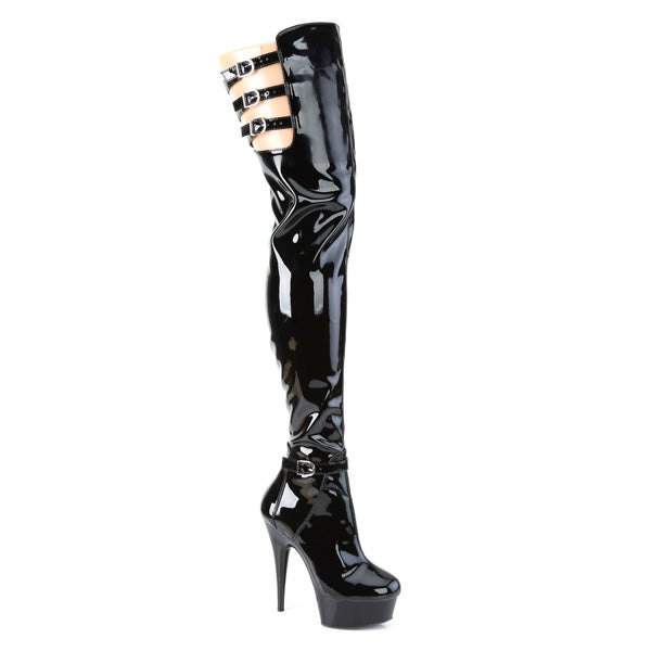 "Delight 3055 Black Patent Thigh High Boot - 6"" High Heels"
