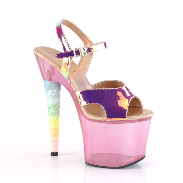 "Unicorn 711T Clear Pink Tint Rainbow Glitter 7"" High Heel Platform Shoes"