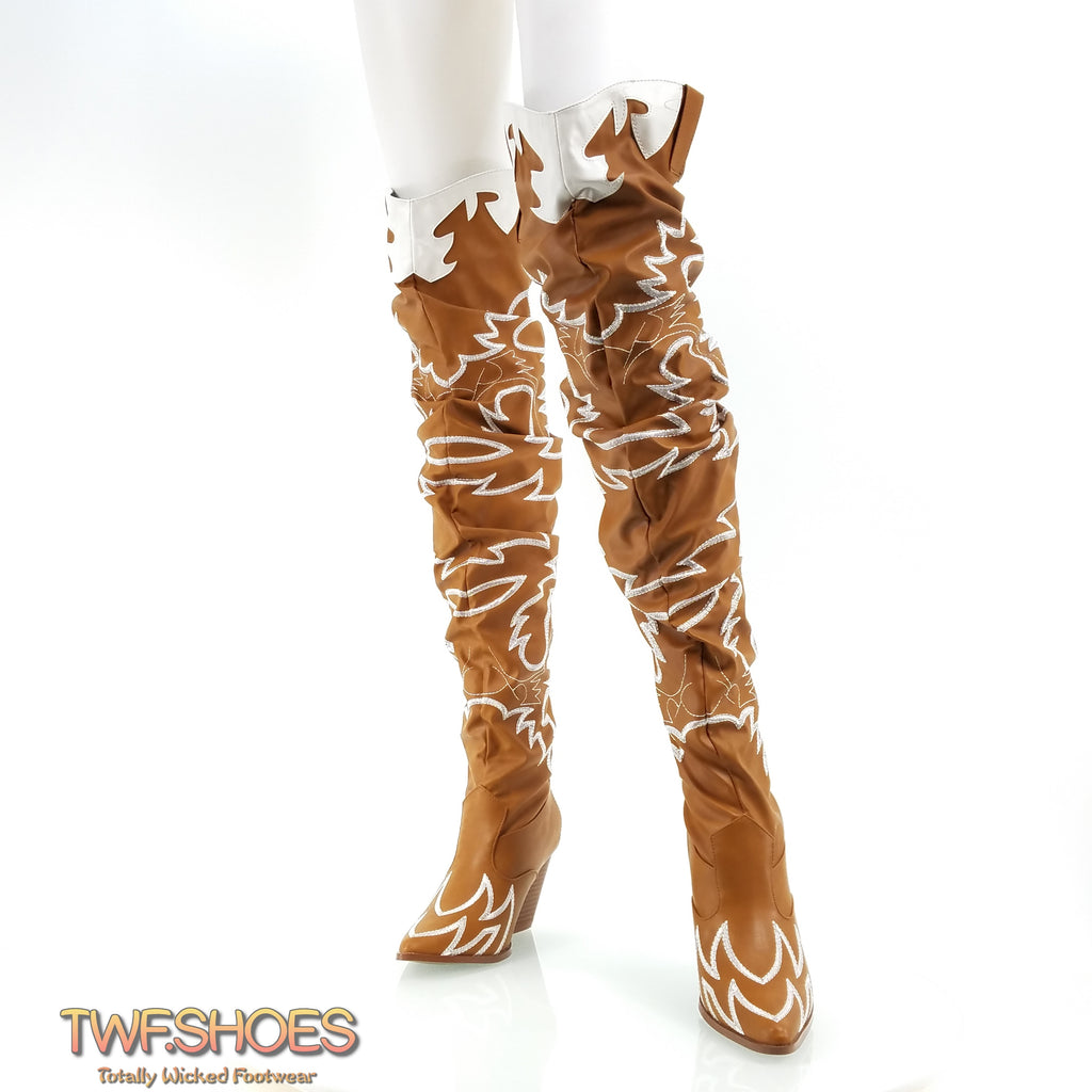 Kelsey 21 Rock Star Tan & White Western Slouch OTK Thigh High Cowboy Boot 6-11