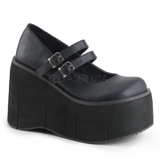 "Kera 08 Black Leatherette Upper 4.5"" Platform Double Strap Maryjane Shoe"
