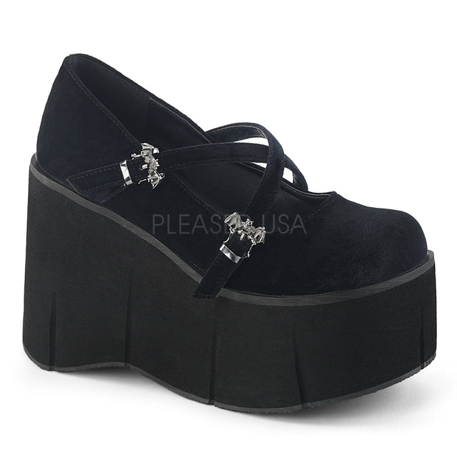 "Kera 10 Black Velvet Maryjane 4.5"" Platform Wedge Shoe - Double Cross Straps"