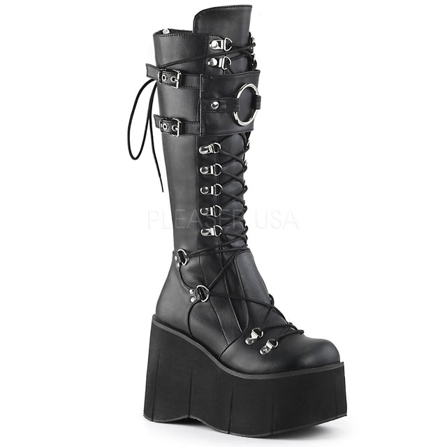 Kera 200 Black Lace Up Goth Platform Knee Boot