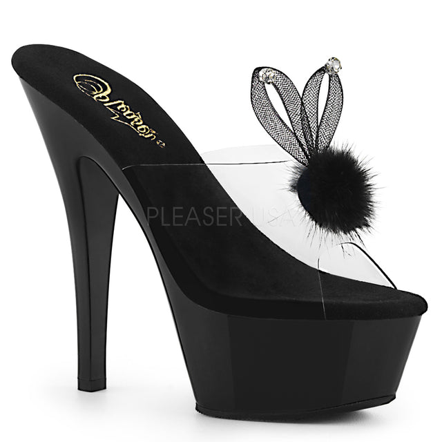 "Kiss 201 Bunny Black Slide - 6"" Platform Heel Shoe"