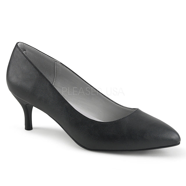 "Kitten 01 Leatherette 2.5"" Heel Pump Shoe Black - Totally Wicked Footwear"