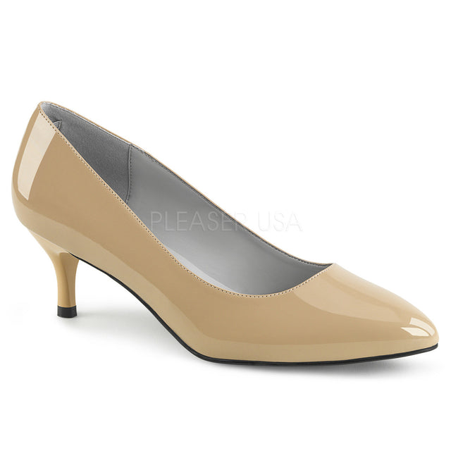 "Kitten 01 Patent 2.5"" Heel Pump Shoe Cream - Totally Wicked Footwear"