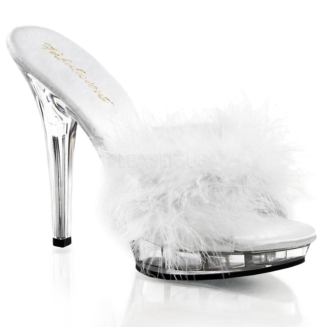 "Lip 101-8  Marabou Feather 5"" High Heel Slip On Shoe White"