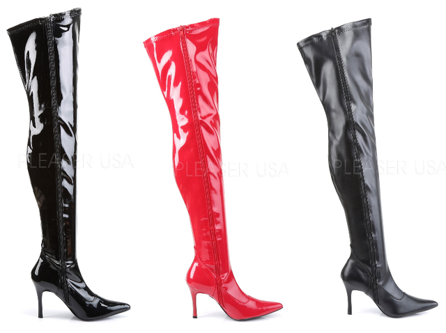 "Lust 3000 Stretch OTK Thigh Boot 3.5"" High Heel Boots 6-12 - Totally Wicked Footwear"