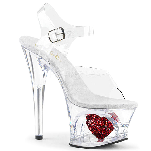 "Moon 708HRS Cutout Clear Platform Red Rhinestone Heart - 7"" High Heel Shoe"