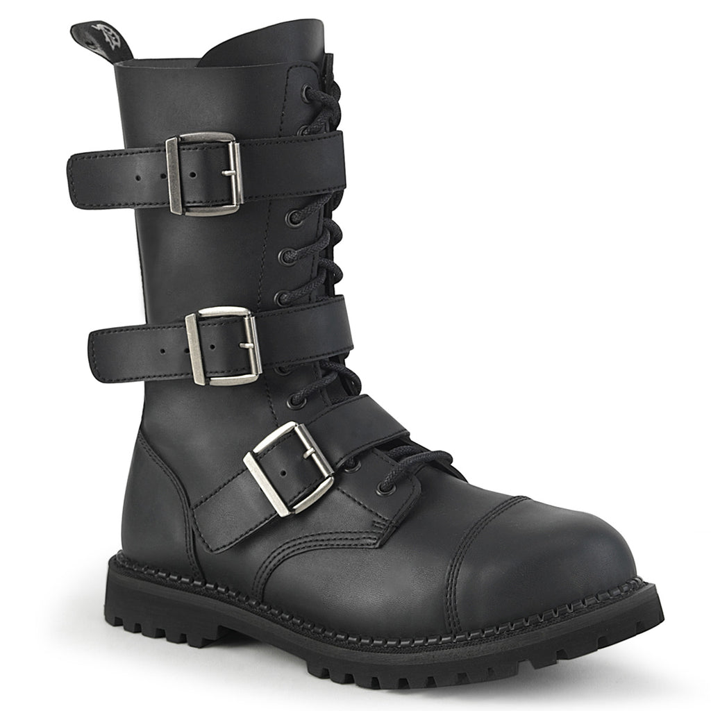 Riot 12BK Black Leatherette Steel Toe Men's Combat Boots