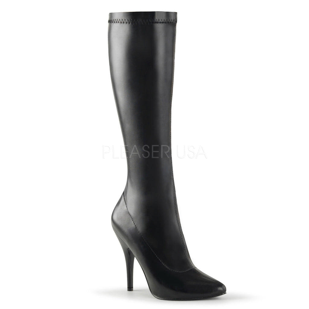 "Seduce 2000 Stretch Knee Boot - 5"" High Heel 6 -16 Black Matte"