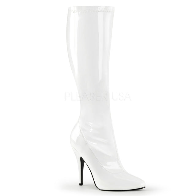 "Seduce 2000 Stretch Knee Boot - 5"" High Heel 6 -16 White Patent"